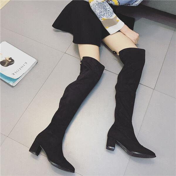 botas muslo rodilla mujer en negro talón 5 cm elegantes como piel 9648