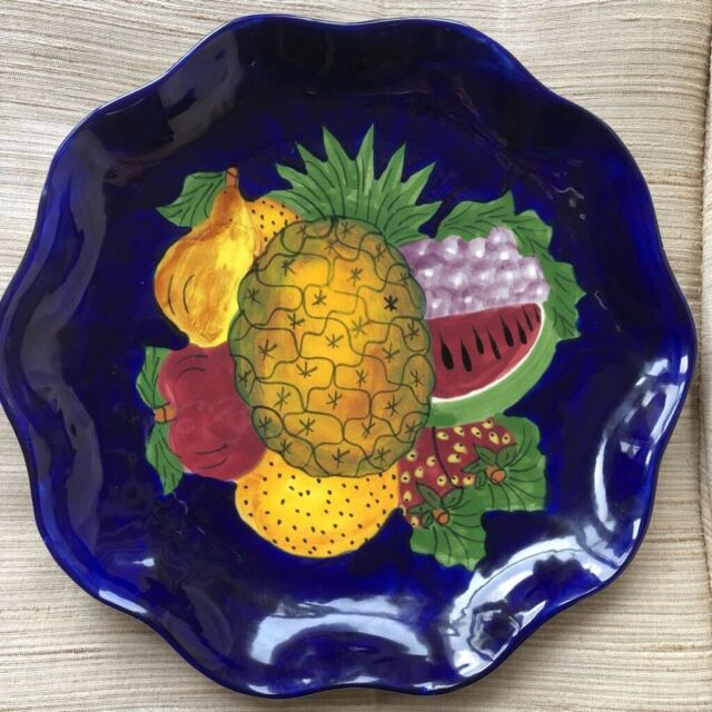Hand Painted Ceramic Plate Country Kitchen Fruit Wall Art Mexico Home Decor Blue