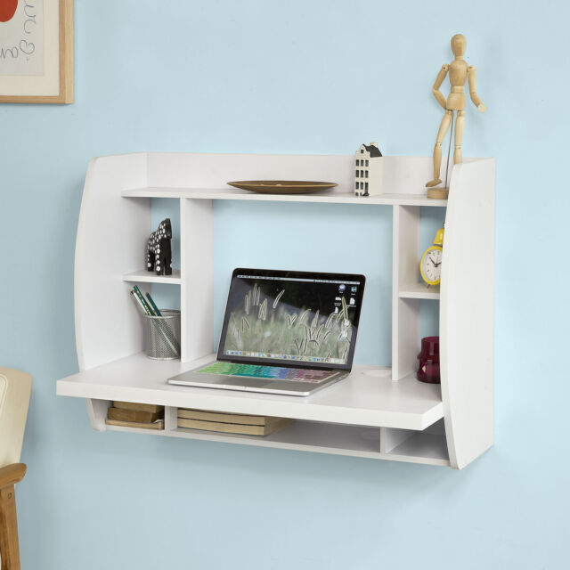 So Wood Wall Computer Pc Table Desk With Shelves Bookcase White Fwt18 W
