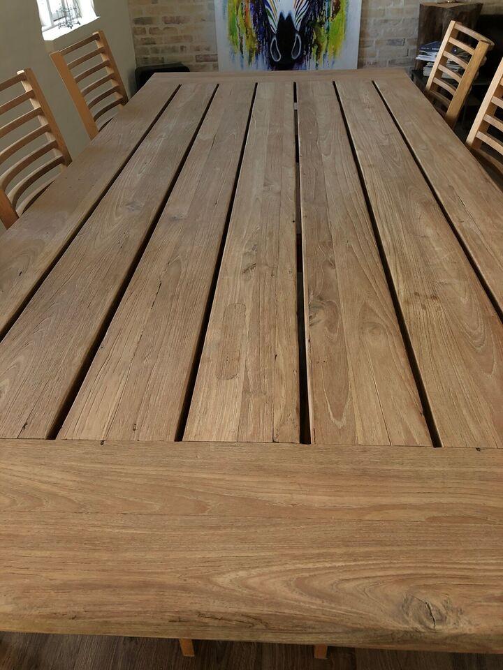 Spisebord m/stole, Sæbebehandlet teaktræsbord, b: 100 l: