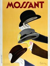 Original Vintage Poster Mossant Cappiello 1938 French Hats Mens Fashion