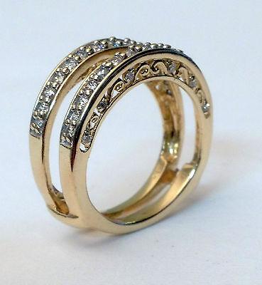 NEW Diamond Antique Vintage Ring Guard Wrap Solitaire Enhancer 14k Yellow Gold