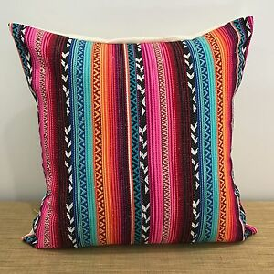 18-034-45cm-PINK-RED-BLUE-GOLD-Mexican-Fabric-Cushion-Cover-Made-Australia