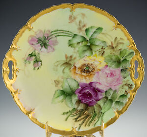 ANTIQUES-LIMOGES-HAND-PAINTED-ROSES-CAKE-PLATE