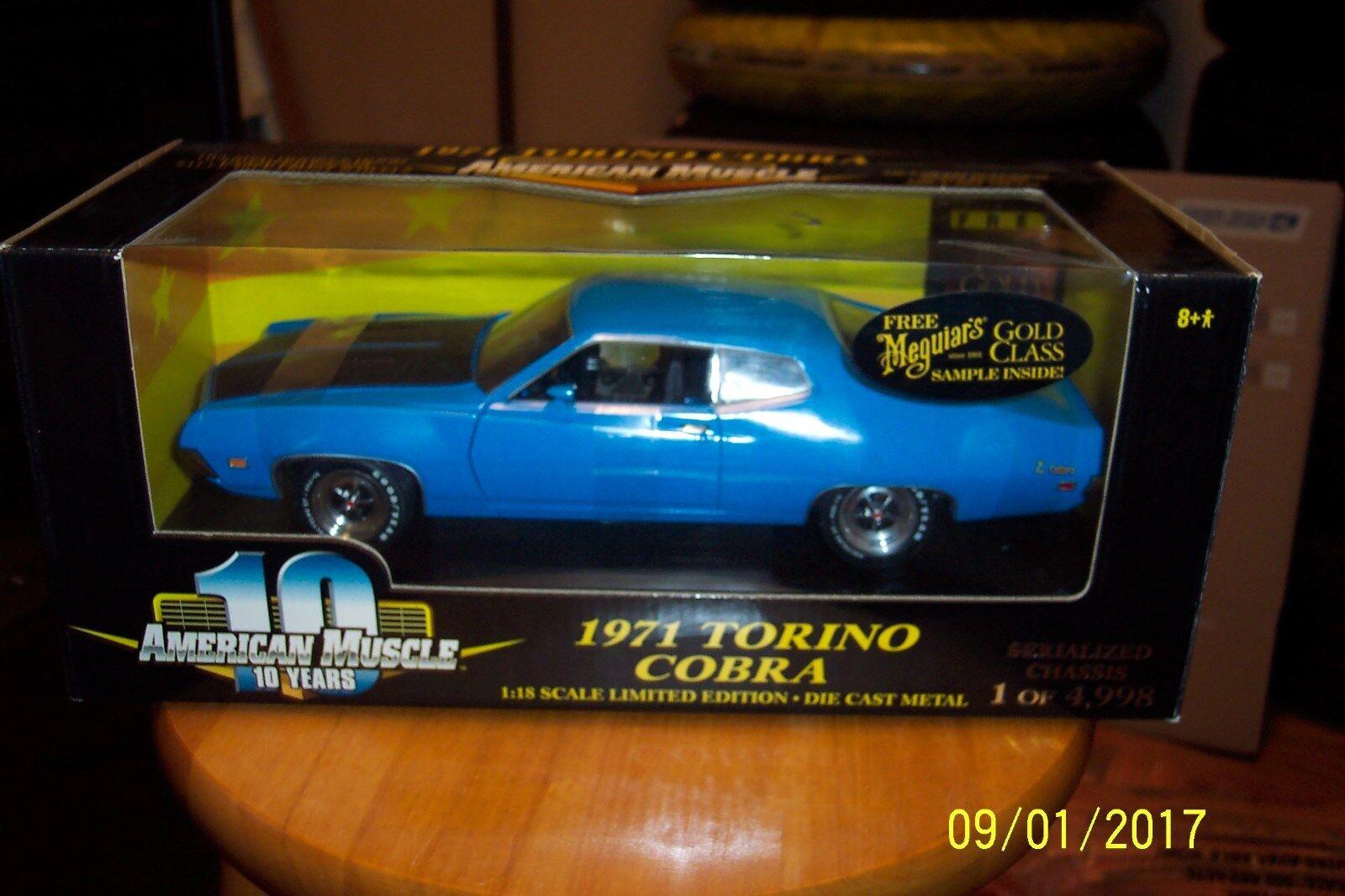 die cast Ertl 2018 Ford Torino Cobra 429CJ Grabber Azul Edición Limitada 1 de 4998 36512