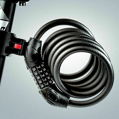 60Cm Bicycle Bike 4 Digit Code Combination Lock Long Spiral Steel Cable Secrure
