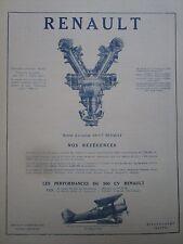 3/1925 PUB RENAULT MOTEUR AVIATION 500 CV BREGUET XIX MORANE SAULNIER PARASOL AD