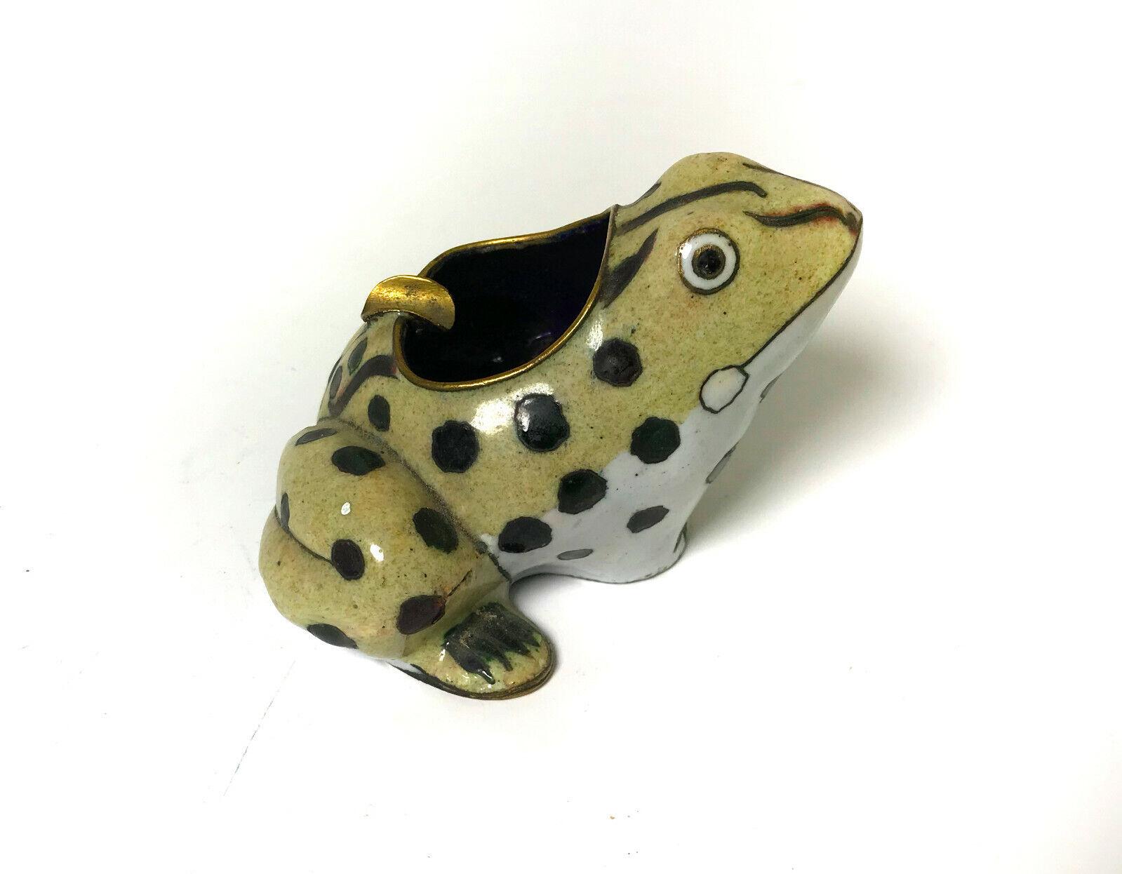 Einzigartiger vintage Aschenbecher Frosch Metall Kröte Unke Ascher Emaille frog