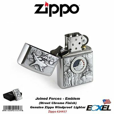 Zippo 24457, Joined Forces Lighter, Emblem, Street Chrome Military, Windproof