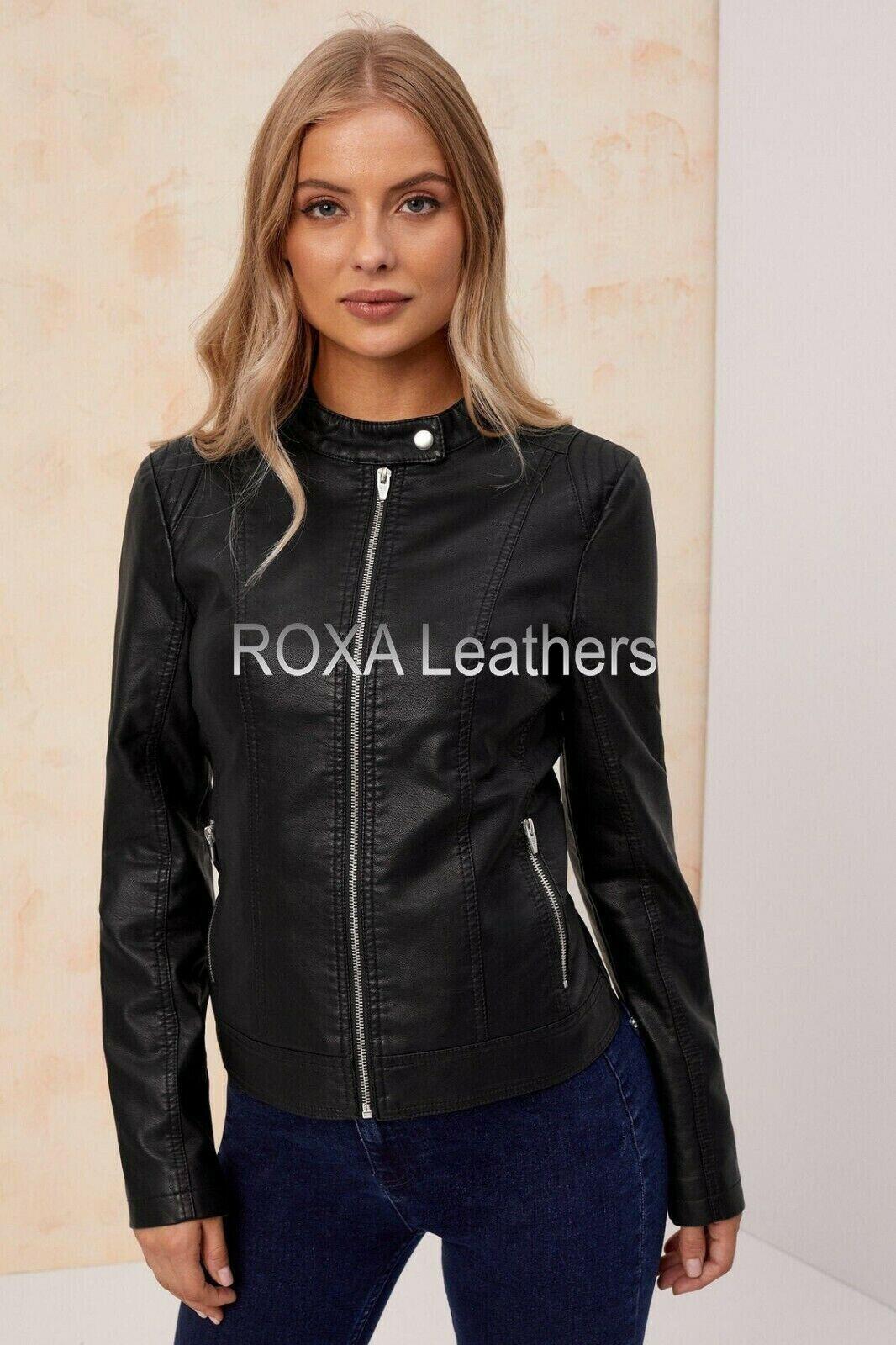 ROXA Modern Women's Black Authentic Sheepskin Real Leather Jacket Club Wear Coat