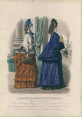 VICTORIAN antique 1871/2 Paris Fashion Print Plate HAND COLORED letter couture