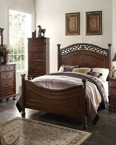 1pc Antique Manfred Walnut Finish Contemporary Queen Size Bed ...
