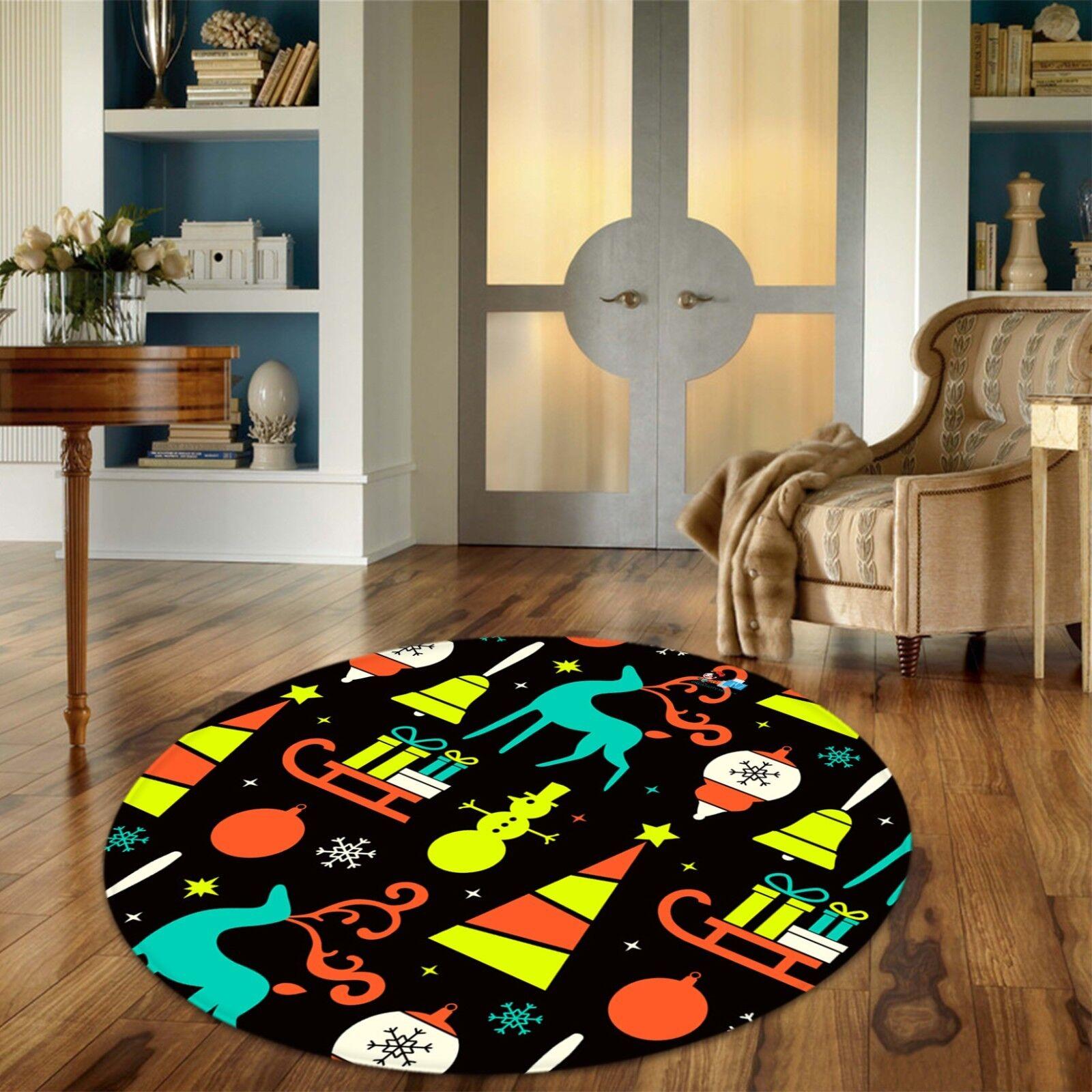3D Christmas  Xmas Xmas Xmas 504 Non Slip Rug Mat Room Mat Round Elegant Photo Carpet AU eacdd0