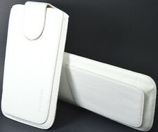 Leather Slip In Pull Up Hand Pouch Case+ Strap For Micromax Superfone A90 WHITE