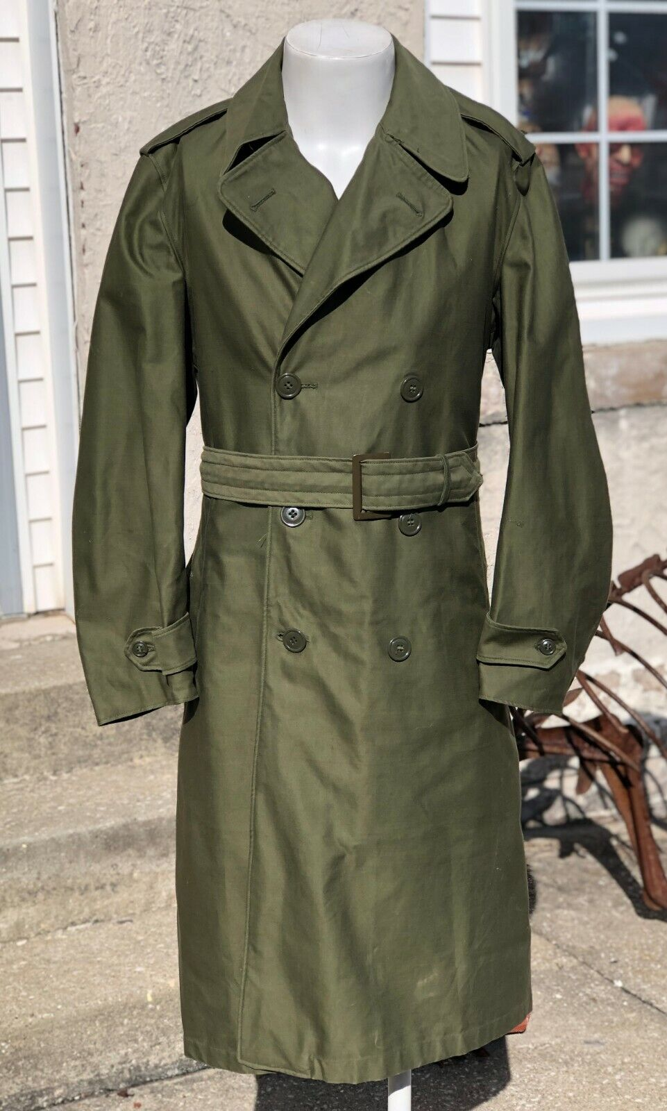Vintage 1982 United States Army Green Drab Full Length Trench Watch Coat Size S