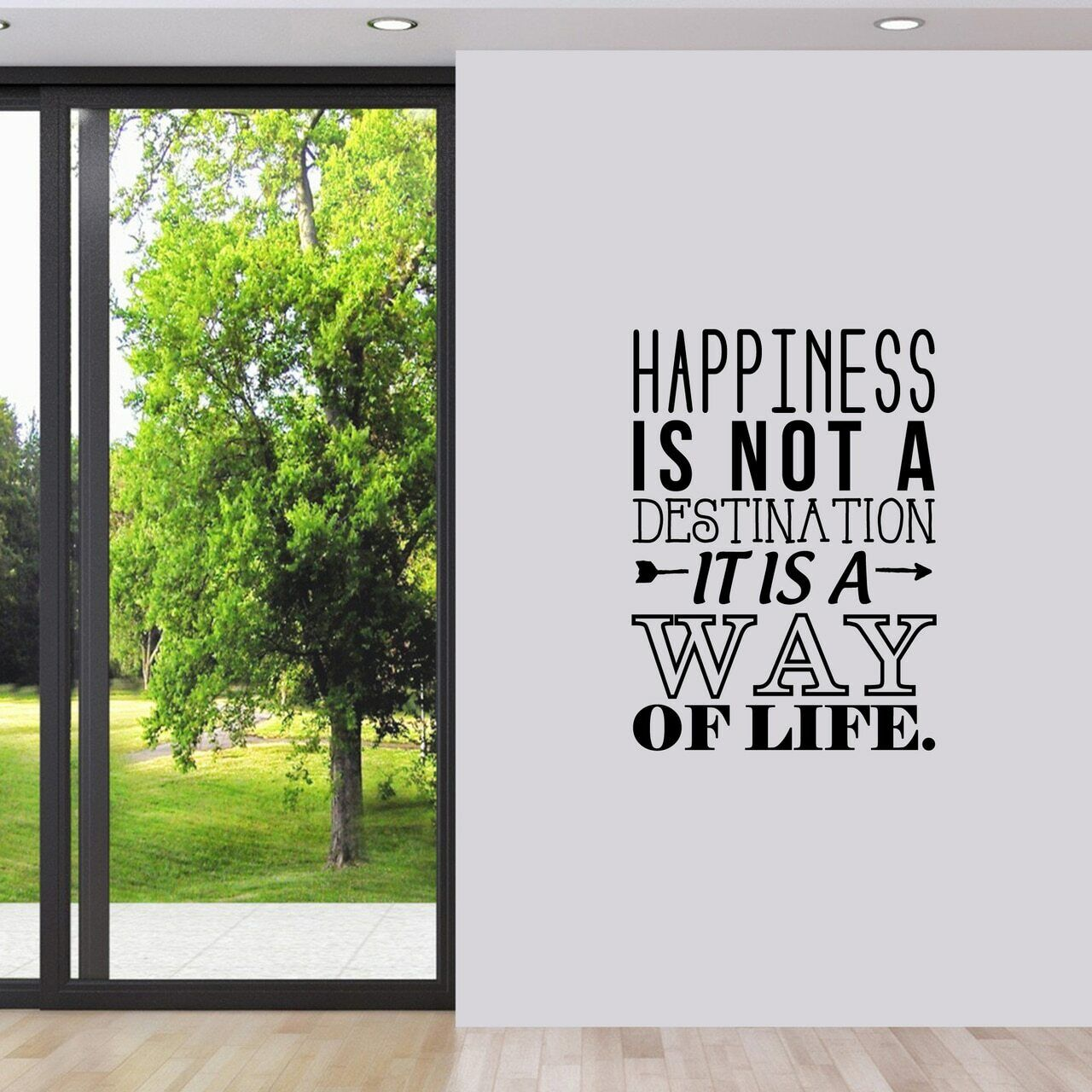 Happiness Is A Way Of Life Wand Decal - Entryway, Inspiration, Family Room, Home