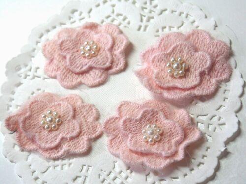Entintado flores parches parchear Patch aplicación rosa pálido 33*42mm