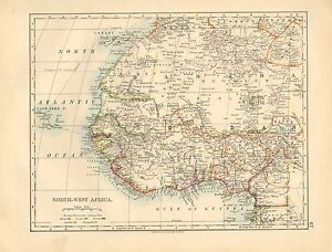 VICTORIAN MAP NORTHWEST AFRICA SAHARA SOUDAN GUINEA EBay - Victorian world map