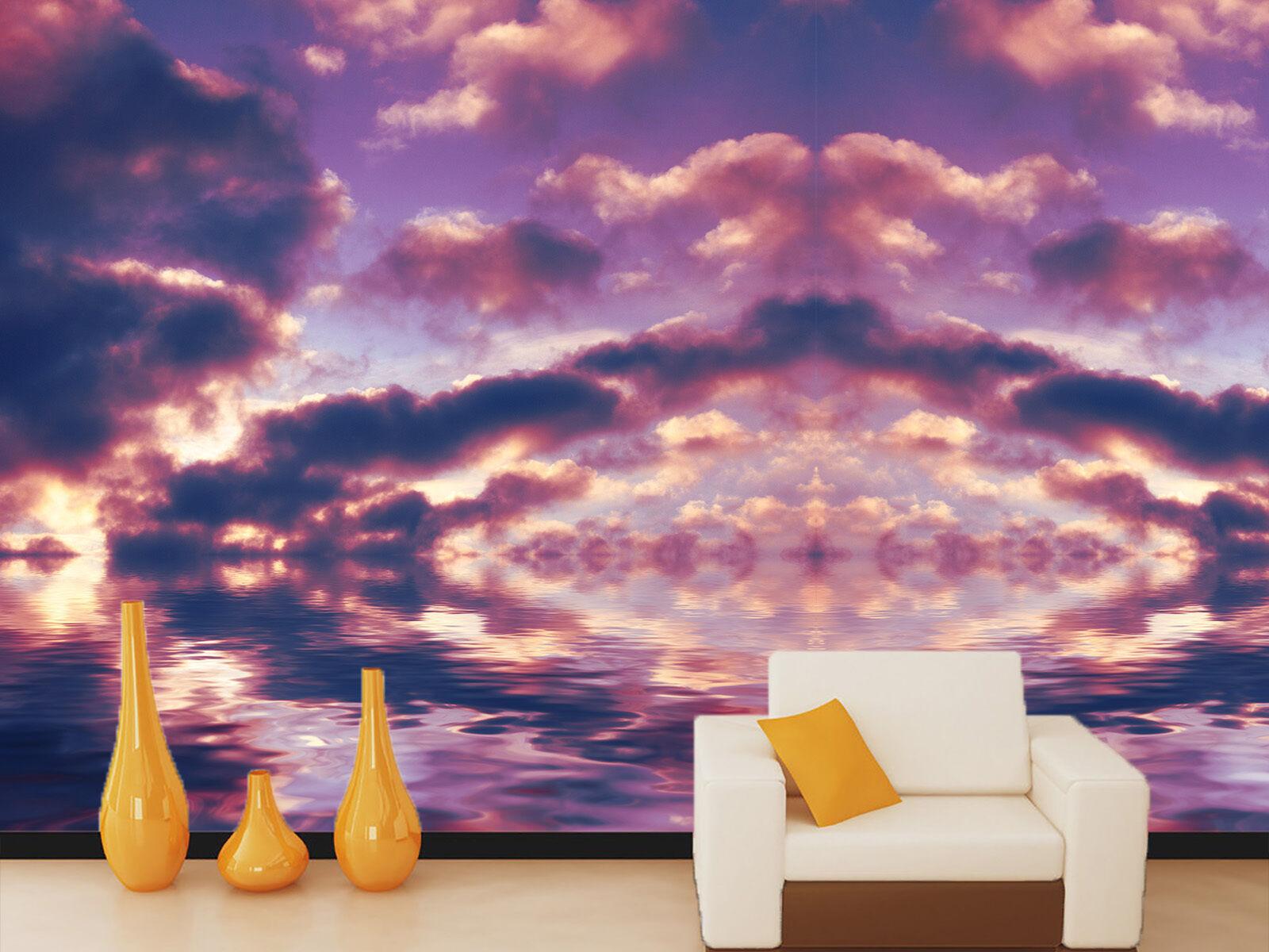 3D Lila wolken das Meer 47 Fototapeten Wandbild Fototapete BildTapete Familie DE