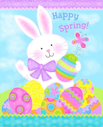 """Easter Bunny Rabbit Eggs Cotton Fabric Studio E Spring Has Sprung 35/""""X44/"""" Panel"""