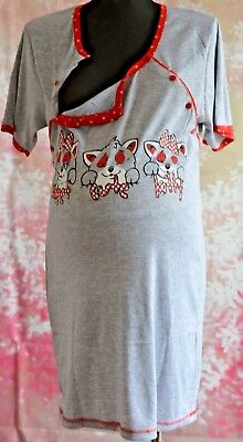 Logisch Maternity Nightdress Nightwear With Two Sides Buttons And Short Sleeve M11