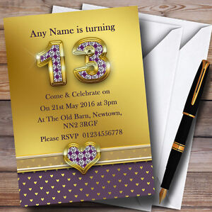 Details About Gold Satin And Purple Hearts 13th Personalised Birthday Party Invitations