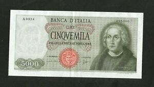 NC-REPUBBLICA-ITALIANA-5000-lire-COLOMBO-I-tipo-Serie-rara-A0024-1964