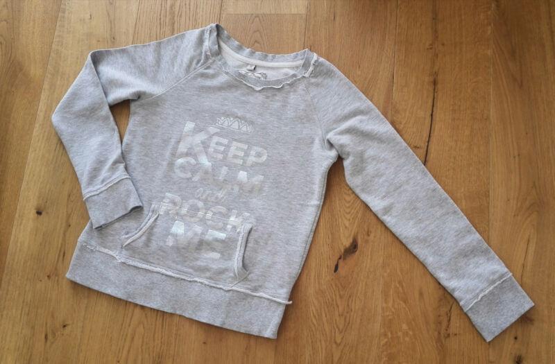 Sweatshirt Grau-meliert Mit Silber-aufdruck, Größe Xs / 34, Neuwertig !