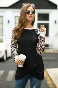 Camisa-Cuello-Redondo-Informal-Camiseta-mangas-largas-blusa-de-las-Senoras-Jersey-Top-para-Mujer