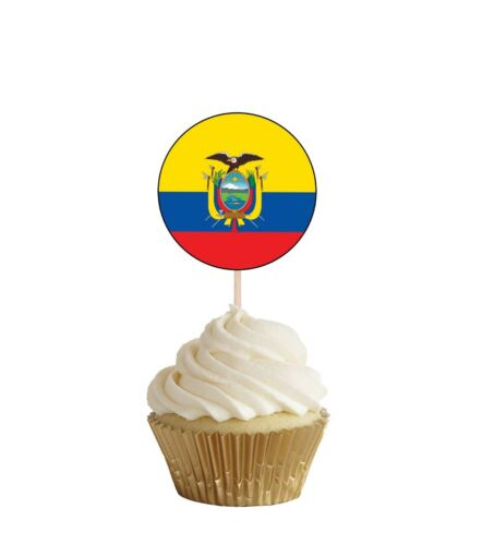 Ecuador Flags Party Food Cup Cakes Picks Sticks Decorations Toppers