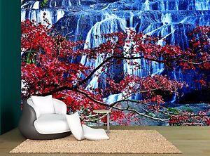 Detalles Acerca De Japan Waterfall Cherry Blossom Trees Wall Mural Photo Wallpaper Giant Wall Decor