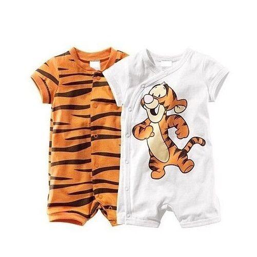 SET 2 NEW Baby Boy Tigger & Tiger Print Short Romper Bodysuit SET 6-24m 0/1/2