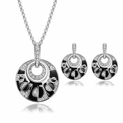 Fashion Women Rhinestone Crystal Pendant Chain Necklace Earrings Jewelry Set Hot
