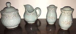 JC-Penny-Home-Collection-034-Isabella-034-Cream-Sugar-Salt-Pepper-Blue-Rare-Retired