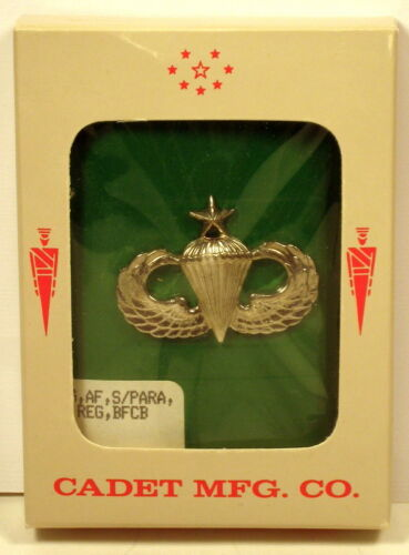 US Army Air Force Senior Parachutist Badge Insignia Metal Shiny Large Packaged