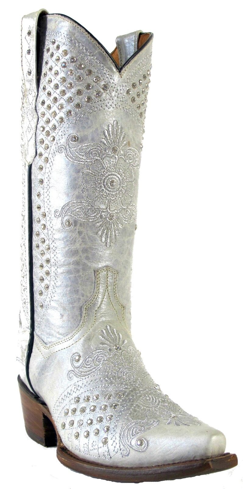 Donna  Distressed Pelle Studs Rhinestone Cowgirl Western Stivali Snip Of White