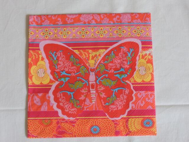 5 stück Servietten  Oriental Schmetterlinge butterflies Muster bunt napkins Tier