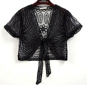 Sheer Bolero Shrug Dress Layer Handcraft Jacket Coat Cape Top 6-14 Wedding Black