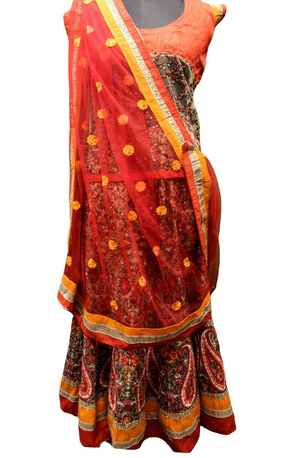 Vintage Indian Bestickter Rock Lang Lehenga Frau Hochzeitskleid Ethnisch HLS1141