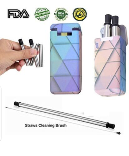 Reusable Collapsible drinking Straw with carry case and cleaning brush 1 pack