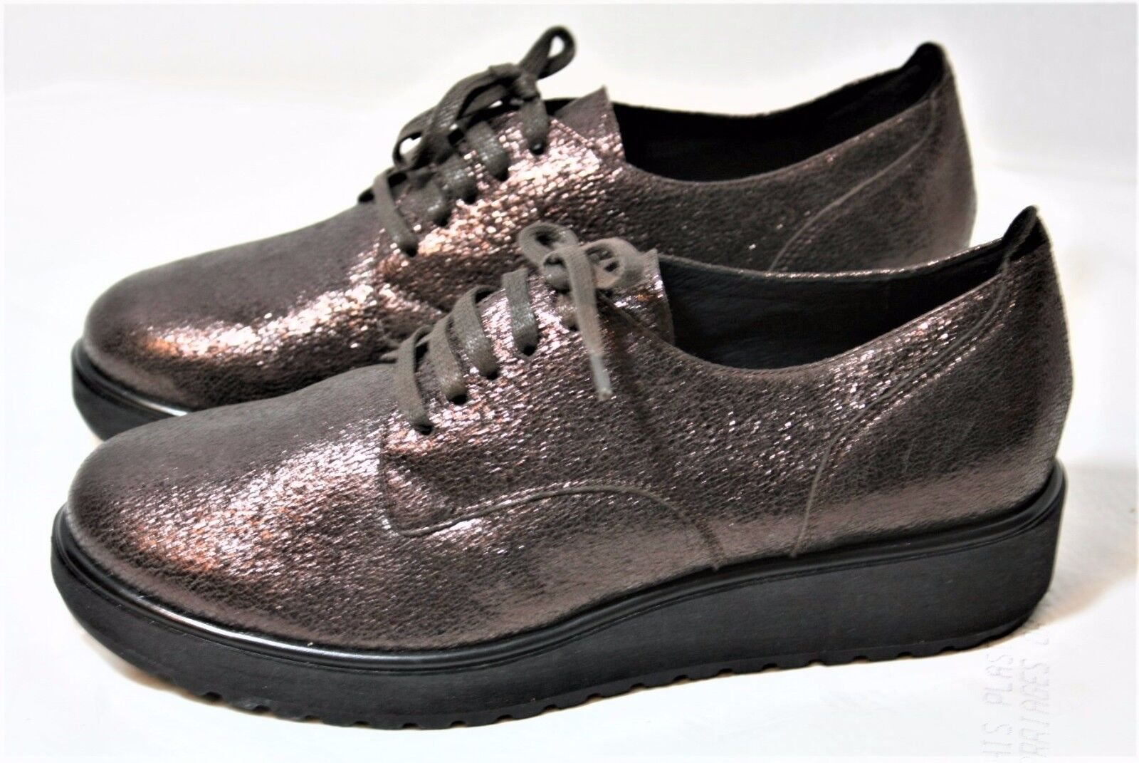 ILSE JACOBSEN Chaussures CRACKLED METALLIC LEATHER LACE UP WEDGE SNEAKER OXFORD NEW 7