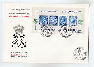 Q016-MONACO-ENVELOPPE-CENTENAIRE-DU-TIMBRE-7-12-1985