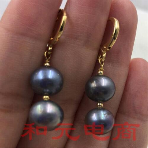 9-10 mm énorme gris perle boucles d/'oreilles 18K or Gold Crochets vert rouille Parti