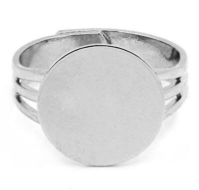 10 Adjustable Ring Base - Silver Finish - Lead Nickel Cadmium Free - Size 7.5 1