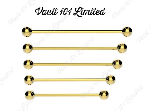 GOLD Industrial Scaffold Barbell Ear Piercing Bar Surgical Steel With BALLS