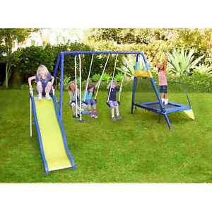 Trampoline swing set slide kids swingset outdoor for Trampoline porch swing