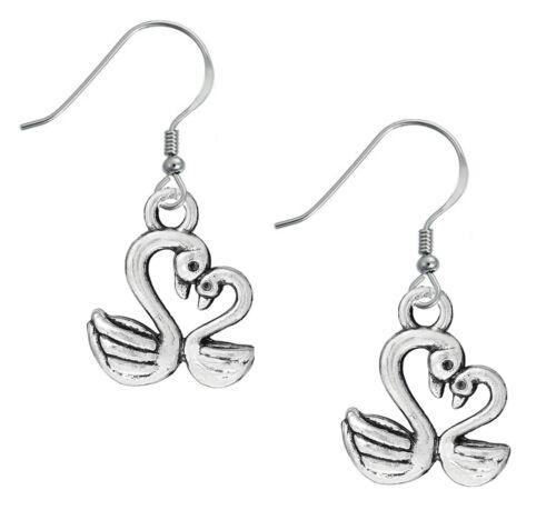 """1/"""" Swan Mother Baby Birds Love Heart Lightweight Silver Tone Dangle Earrings"""