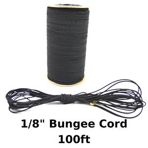 "100ft 1//8/"" Black Bungee Cord Marine Grade Heavy Duty Shock Rope Tie Down Stretch"