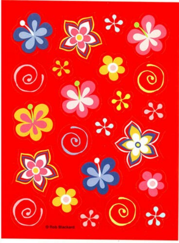 4 Sheets FUNKY Hula Flowers Tropical Hibiscus Scrapbook Stickers