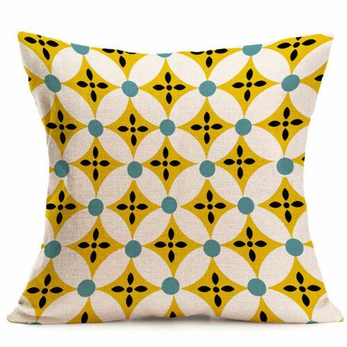 "18/"" Geometric Flower Cotton Linen Throw Pillow Case Cushion Cover Home Decor"